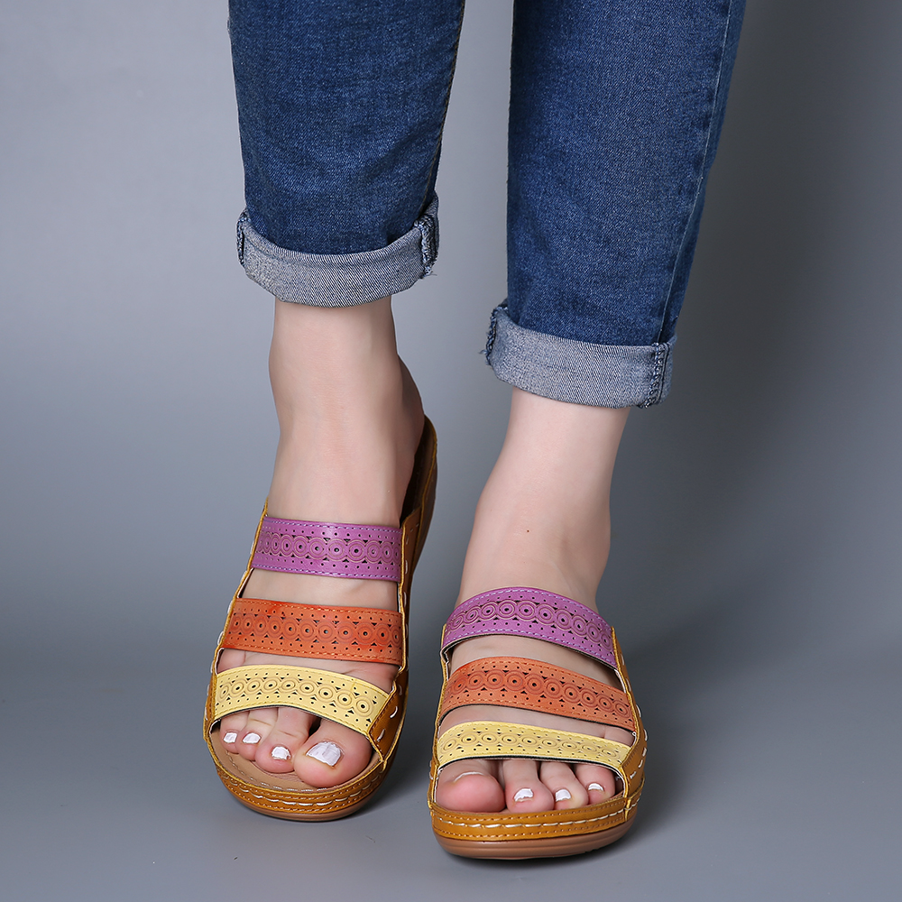 Lostisy Women Hollow Out Rainbow Stitching Slippers