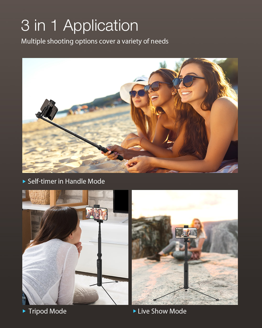 BlitzWolf® BW-BS8L Long Extendable 3 in 1 Multi-angle Rotation bluetooth Tripod Selfie Stick