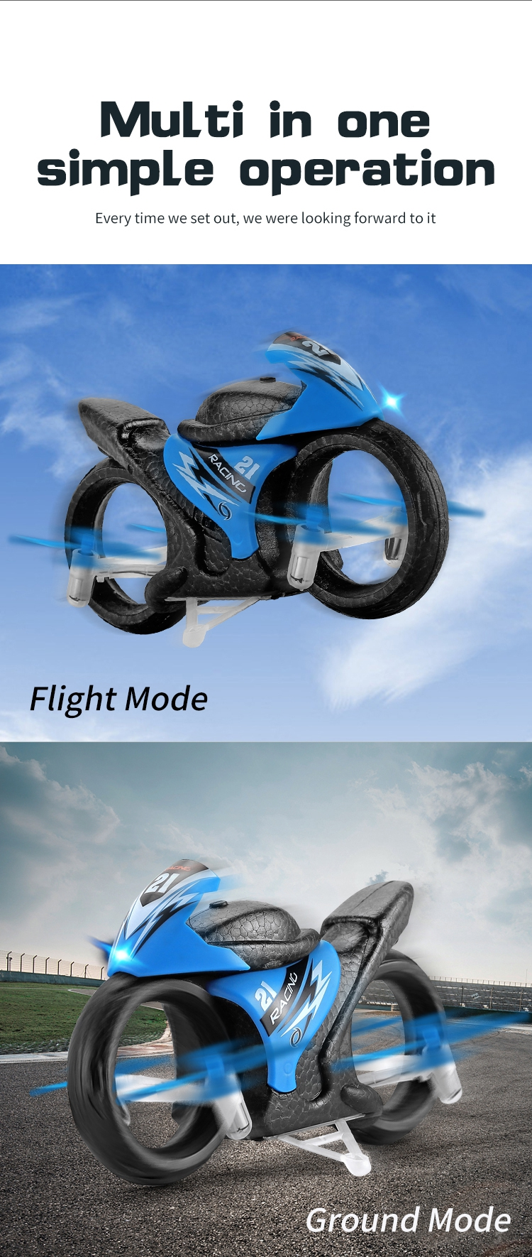 Eachine E021 Racing 2-In-1 Land/Air Mode One Key Switch Flying Motorcycle 2.4G RC Drone Quadcopter - Photo: 2