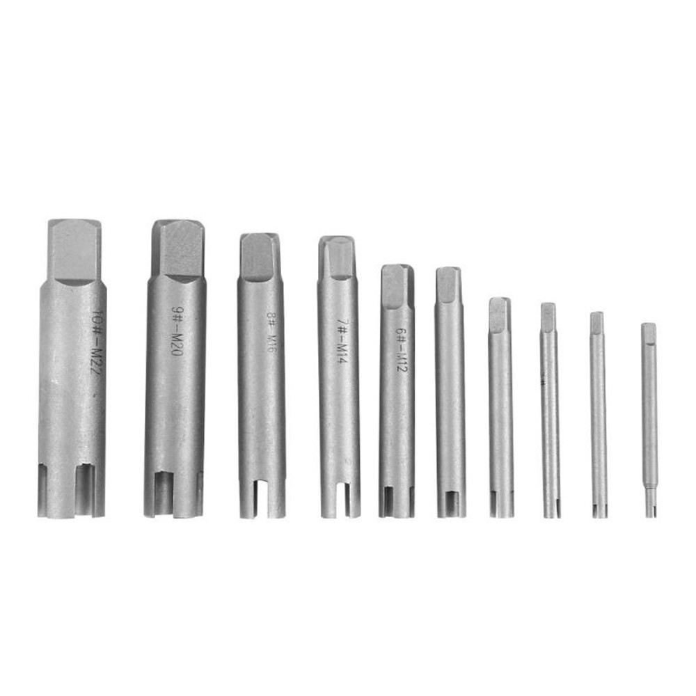 Drillpro 10Pcs Damaged Taps Remover Screw Tap Extractor Set Broken Taps Removal Kit