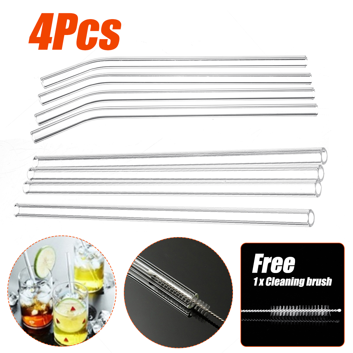 4Pcs/Set Wedding Birthday Party Transparent Glass Drinking Straw