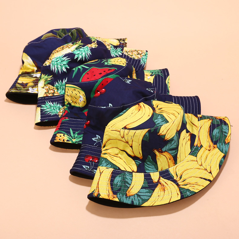 Women & Men Fruit Print And Black Two-Sided Bucket Hat