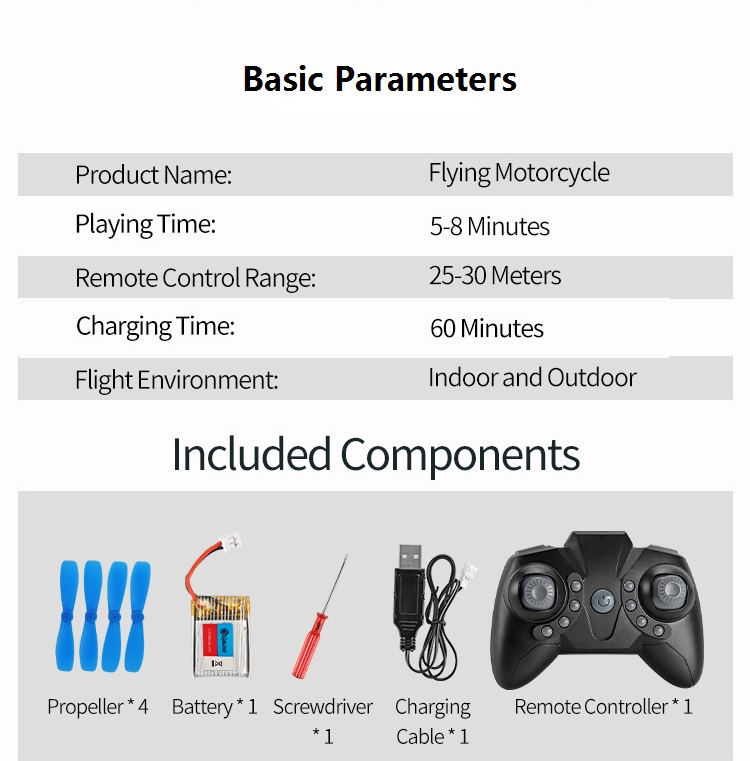 Eachine E021 Racing 2-In-1 Land/Air Mode One Key Switch Flying Motorcycle 2.4G RC Drone Quadcopter - Photo: 8