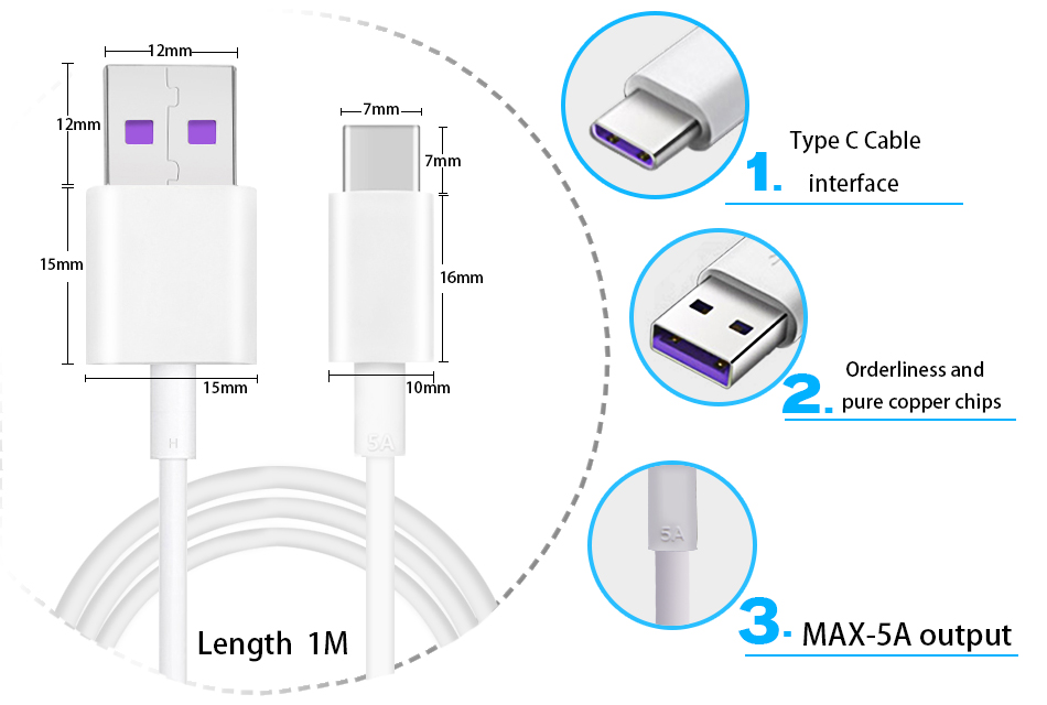 Bakeey 5A Micro USB Type C Fast Charging Data Cable For HUAWEI P30 XIAOMI MI9 S10 S10+