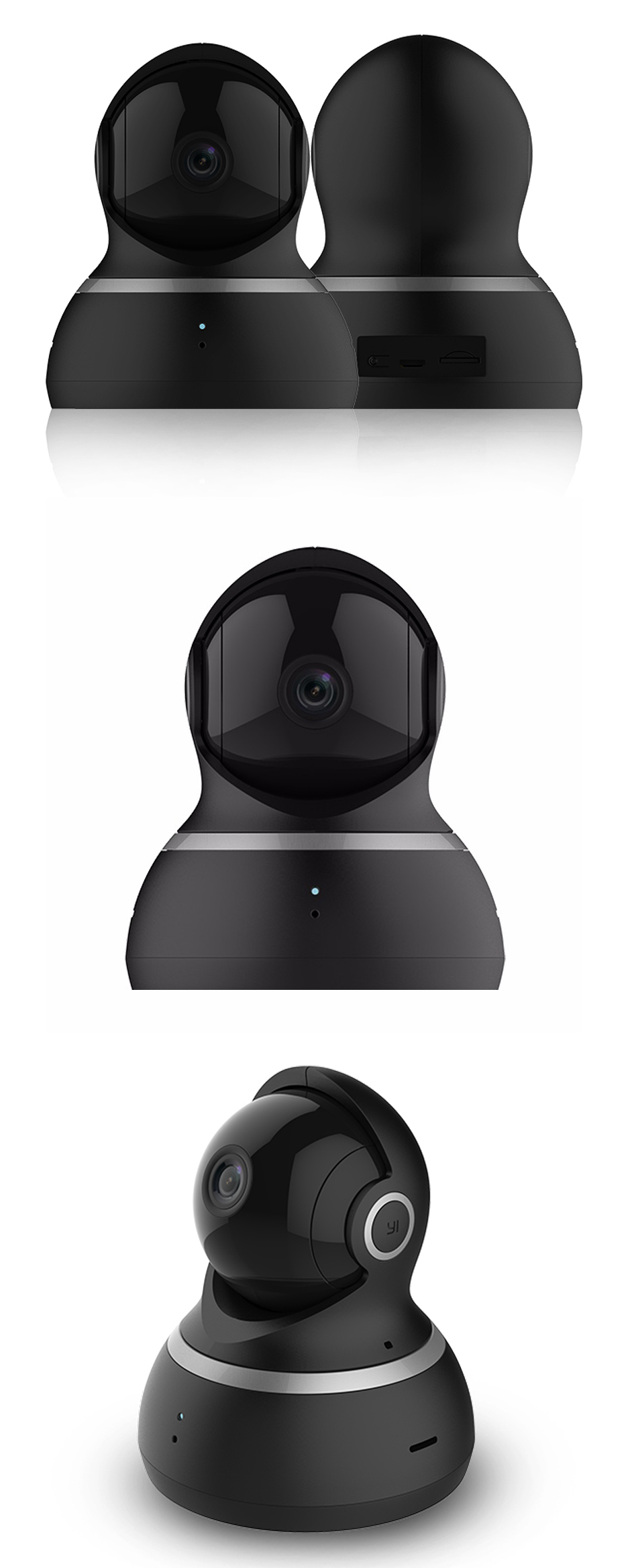 Xiaoyi 1080P Dome Camera Wireless IP Camera Pan-Tilt Control Infrared Night Vision Motion-Detection Home Wifi Camera Baby Monitors - Black
