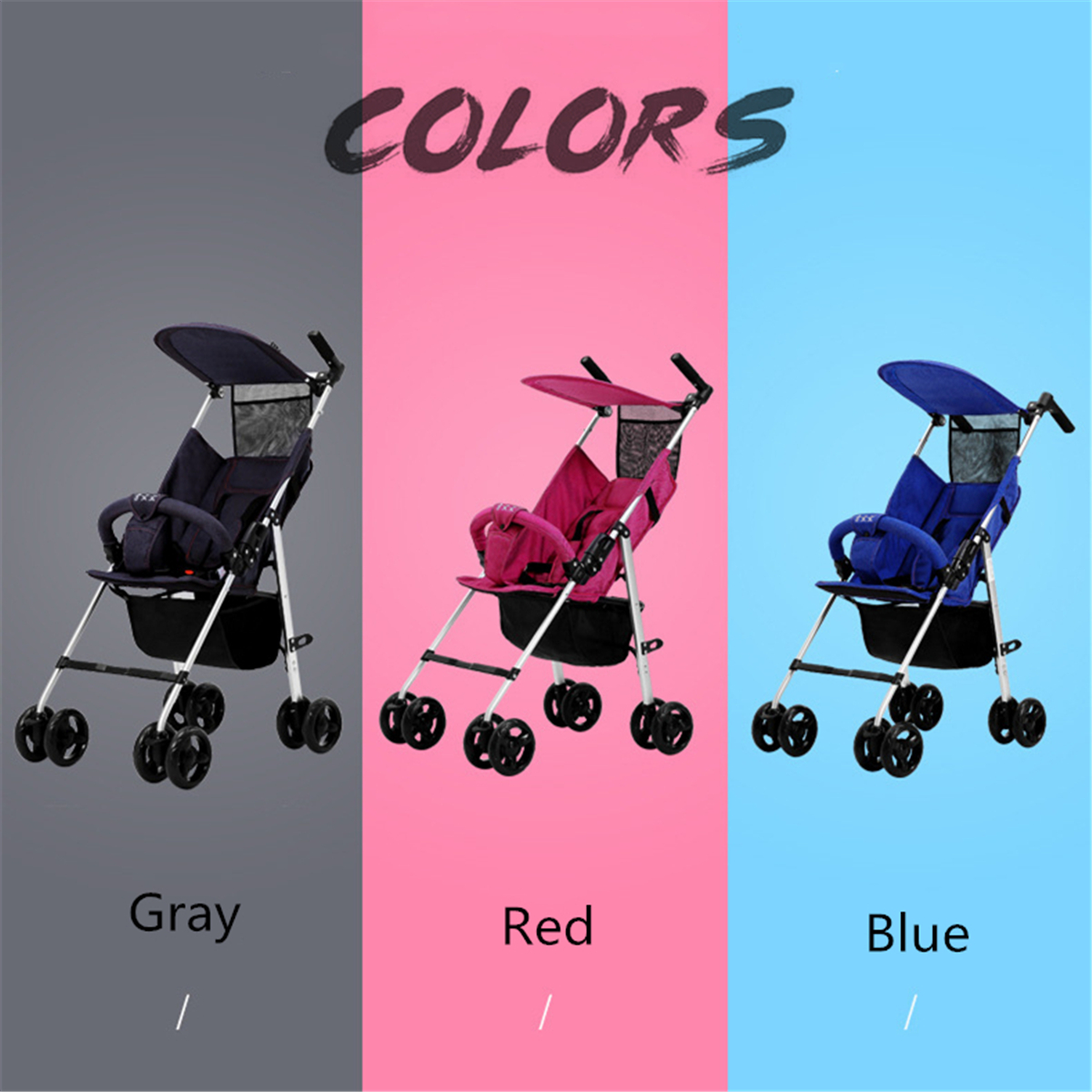 Foldable Baby Stroller Kid And Infant Pushchair Lightweight Child Safety Seat