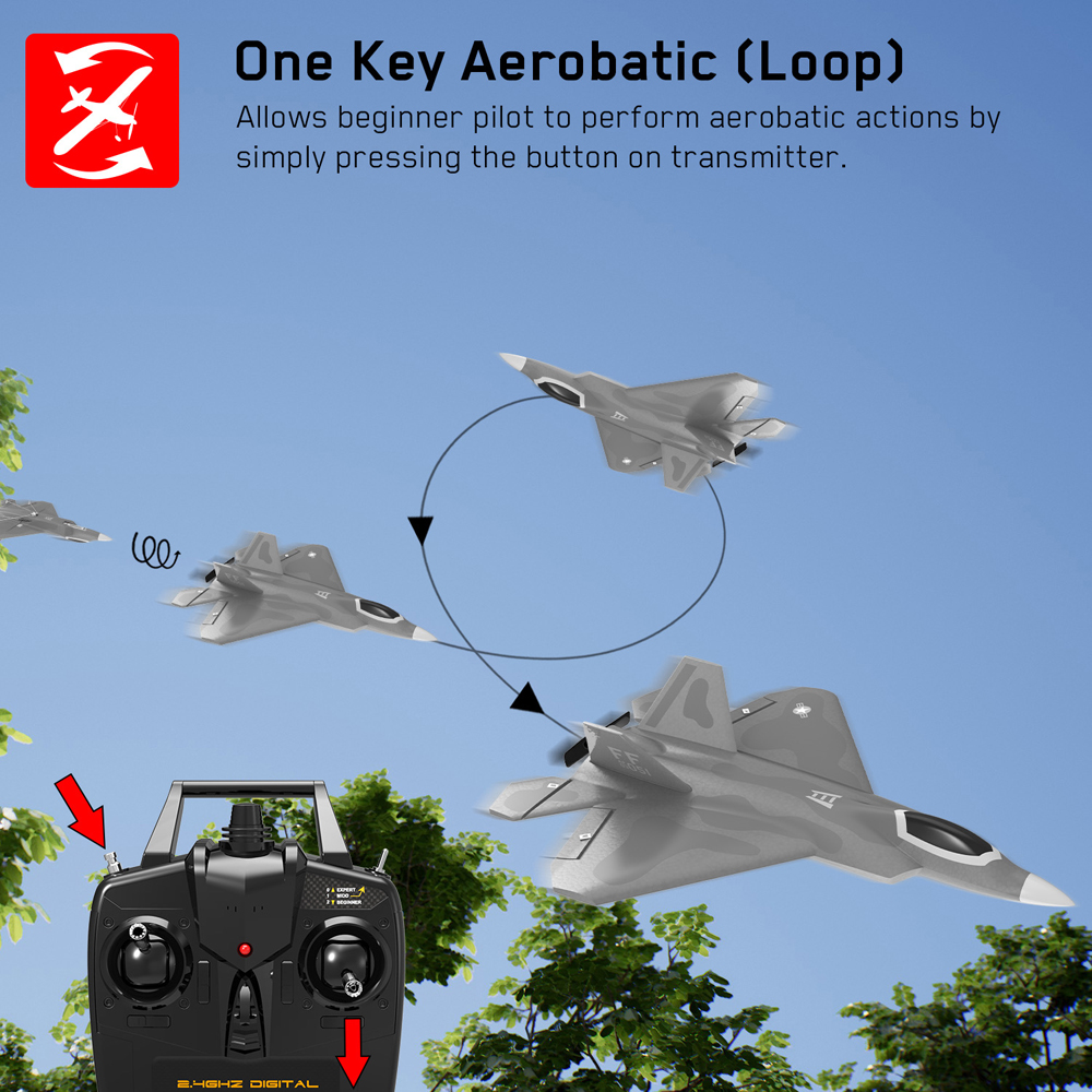 Eachine Mini F22 Raptor EPP 260mm Wingspan 2.4G 4CH 6-Axis Gyro RC Airplane Trainer Warbird Fixed Wing RTF One Key Aerobatic for Beginner - Photo: 4