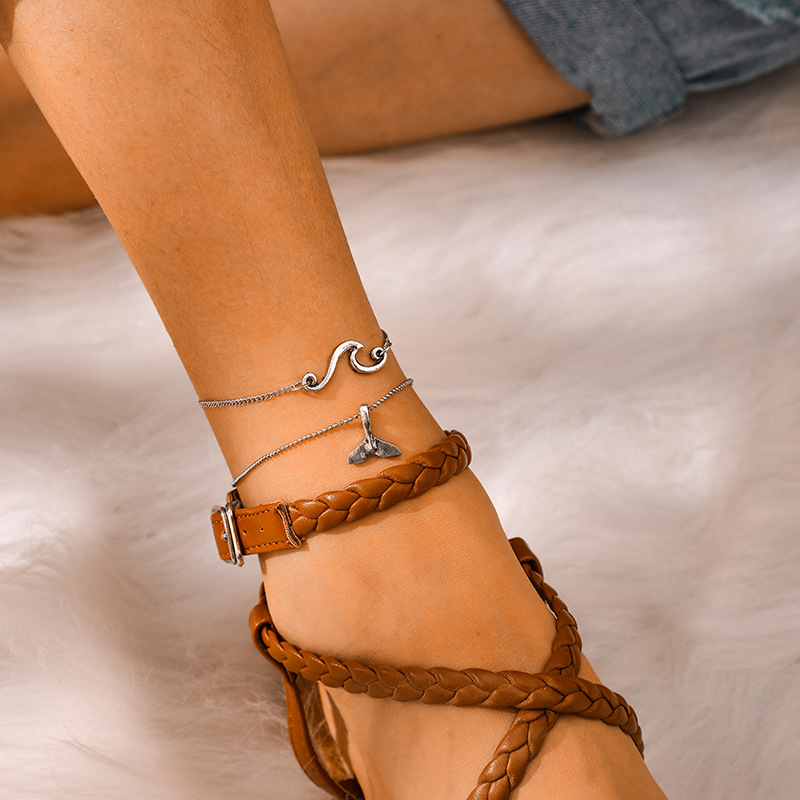 Bohemian Double-layer Silver Anklets