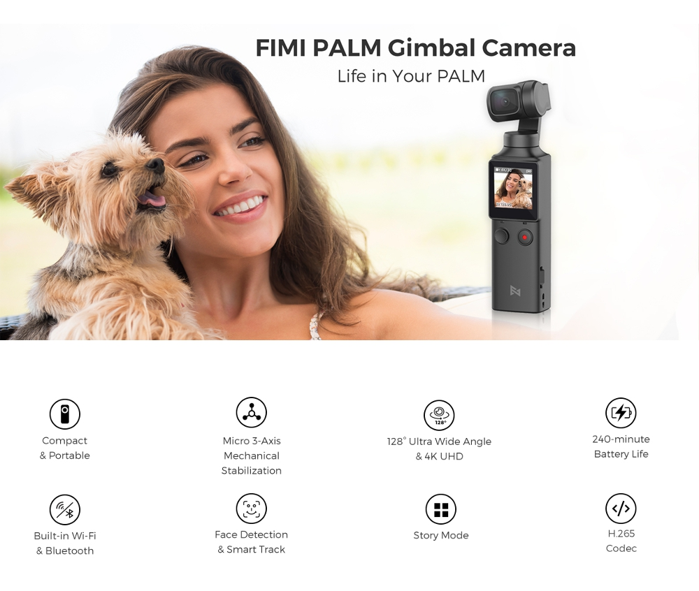 Xiaomi FIMI PALM Pocket Gimbal Camera 4K 100Mbps HD 128 Degree Wide Angle 3 Axis Handheld Stabilizer Anti-Shake Support WiFi Bluetooth Smart Tracking