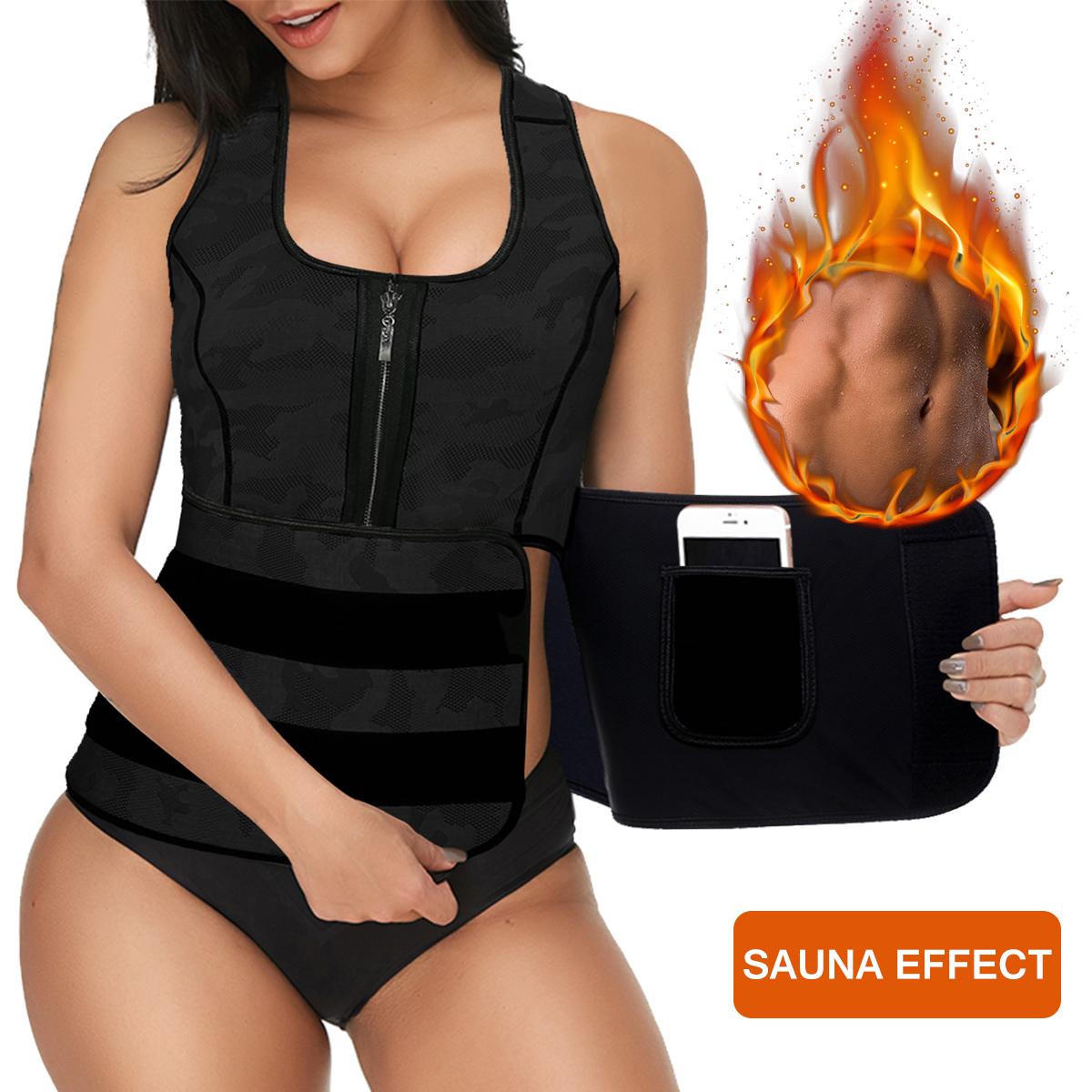 Women Sweat Sauna Suit Body Shaper Men Vest Thermo Neoprene Trainer Sliming Waist Belt Tracksuit Black