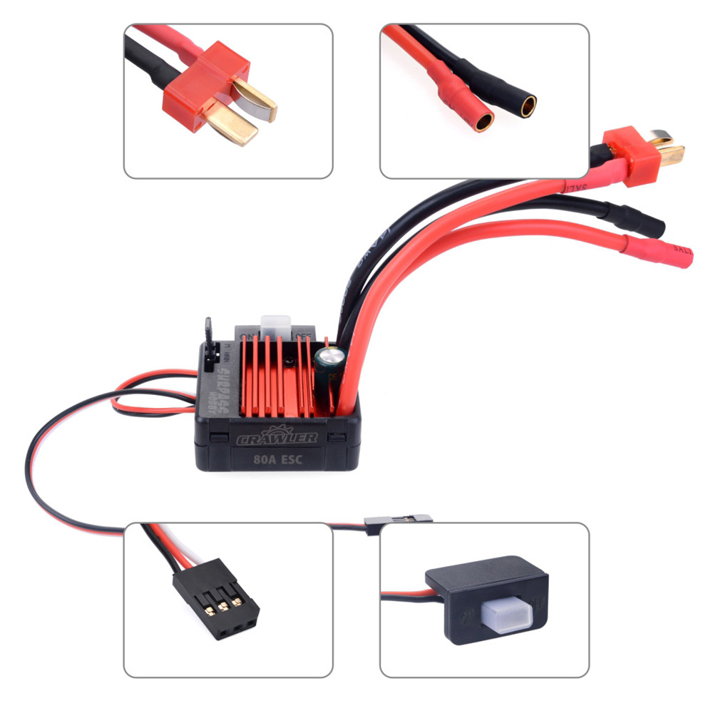 Surpass Hobby 80A Brushed Waterproof ESC Speed Controller for 1/10 RC Crawler Vehicles Parts - Photo: 2