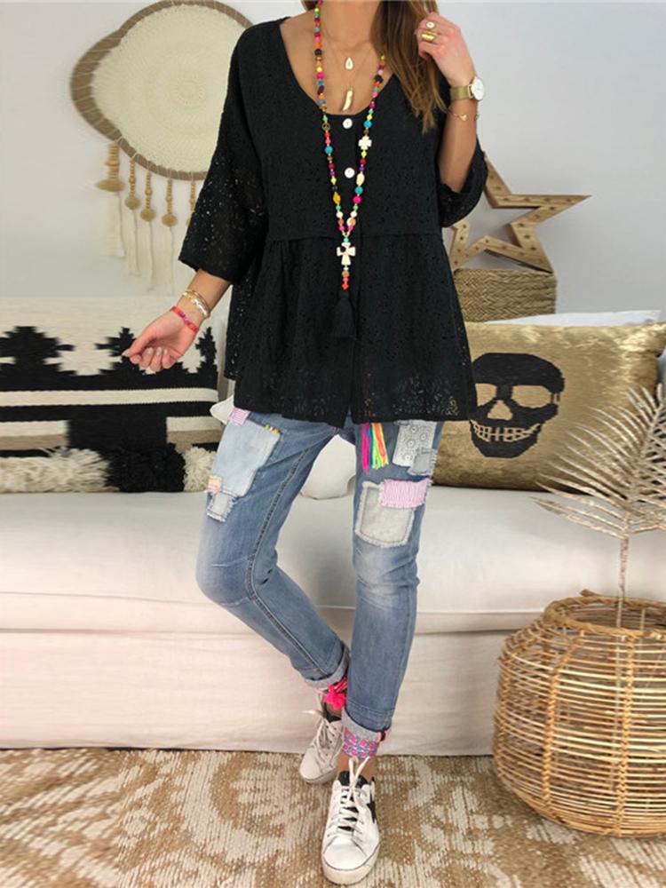 Plus Size Solid Color Lace V-Neck Collar Women Blouse