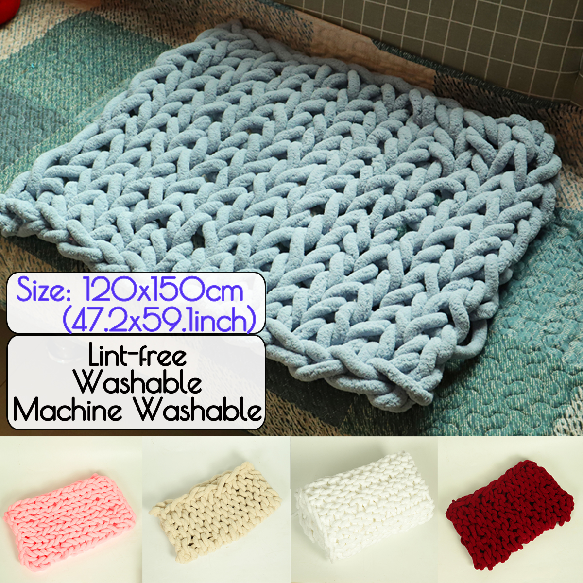 120x150cm Handmade Knitted Blanket Cotton Soft Washable Lint-free Throw Blankets