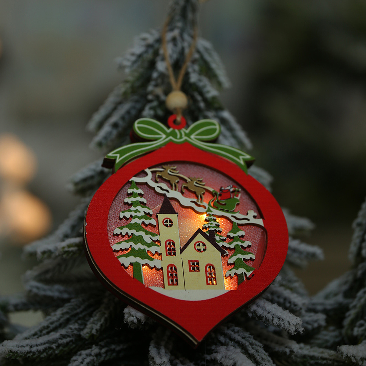 Christmas Decoration Hollow Wooden Pendant Night Light Tree Hanging Ornaments
