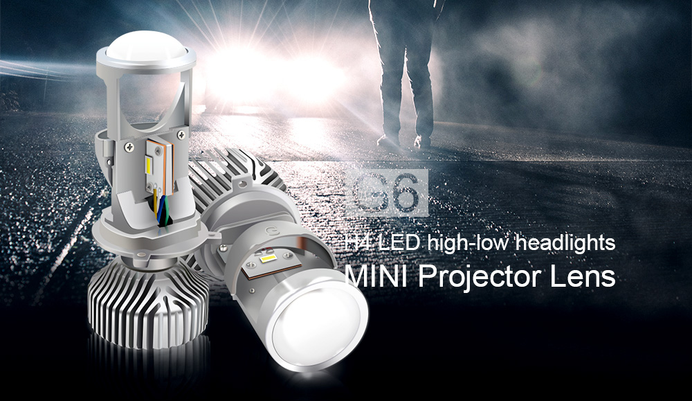 G6 H4 LED Headlights with Mini Projector Lens 70W Clear Hi-lo Dual Beam Pattern Headlamp 2PCS for RHD Car Motorcycle