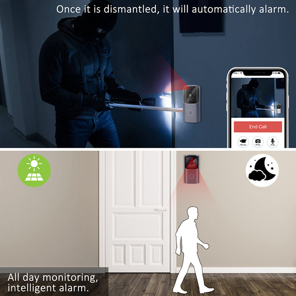 Bakeey V5 Wireless WiFi Night Vision Intercom Video Visual Security Recording Doorbell For Smart Home