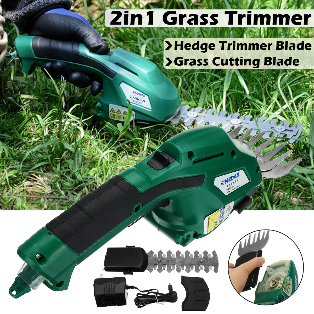 2 in 1 Li-Ion Battery Pruning Tool Cordless Hedge Grass Shears Trimmers Cutters Shrub Tool