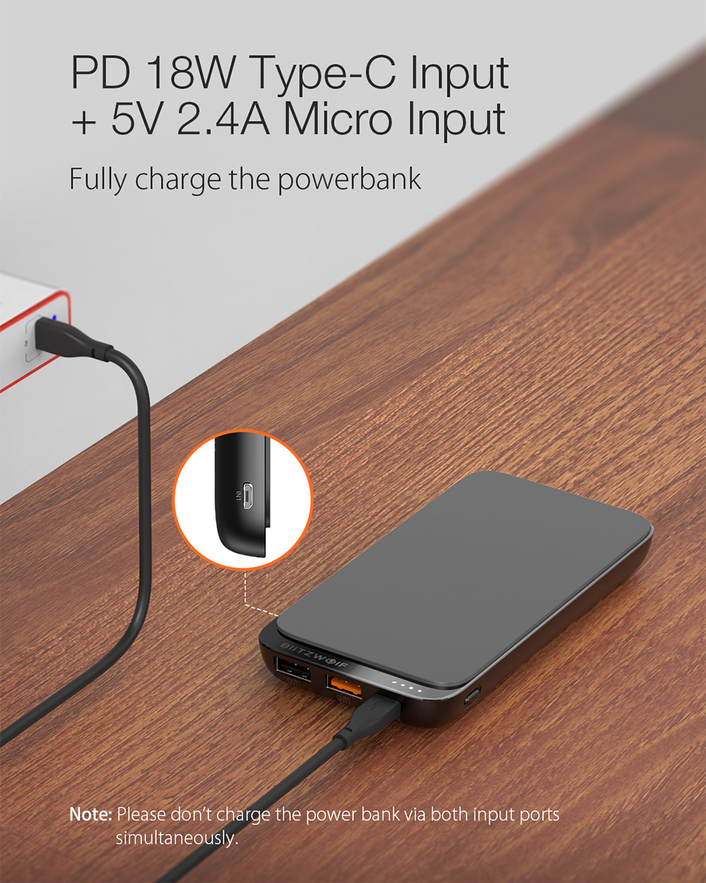 BlitzWolf® BW-P10 10000mAh QC3.0 PD18W Power Bank 10W Wireless Charger with 4 Outputs for iPhone XS XR for Switch XIAOMI MI9 S10 S10+