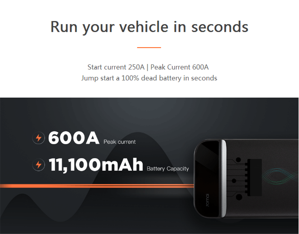 70mai 11100mAh Car Lithium Jump Starter Powerbank Emergency Battery Booster Pack Multifunction from Xiaomi Youpin