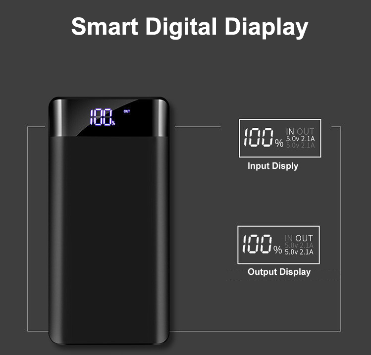 Bakeey 20000mAh Large Capacity Dual USB Output LED Dispaly Fast Charging Power Bank Case For iPhone X XS Oneplus 6P 7 7Pro Xiamo Mi8 Mi9 S10 S10+