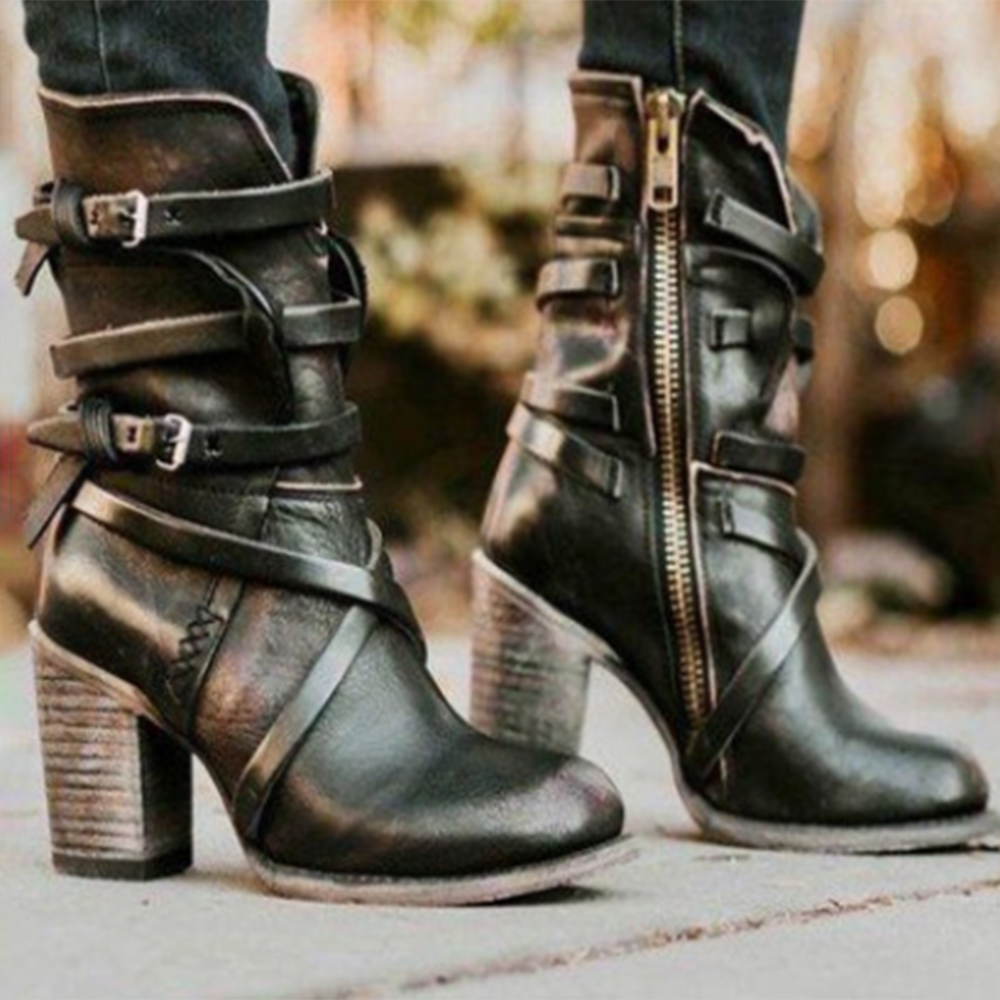 Women Motorcycle Buckle Strappy Zipper High Heel Boots