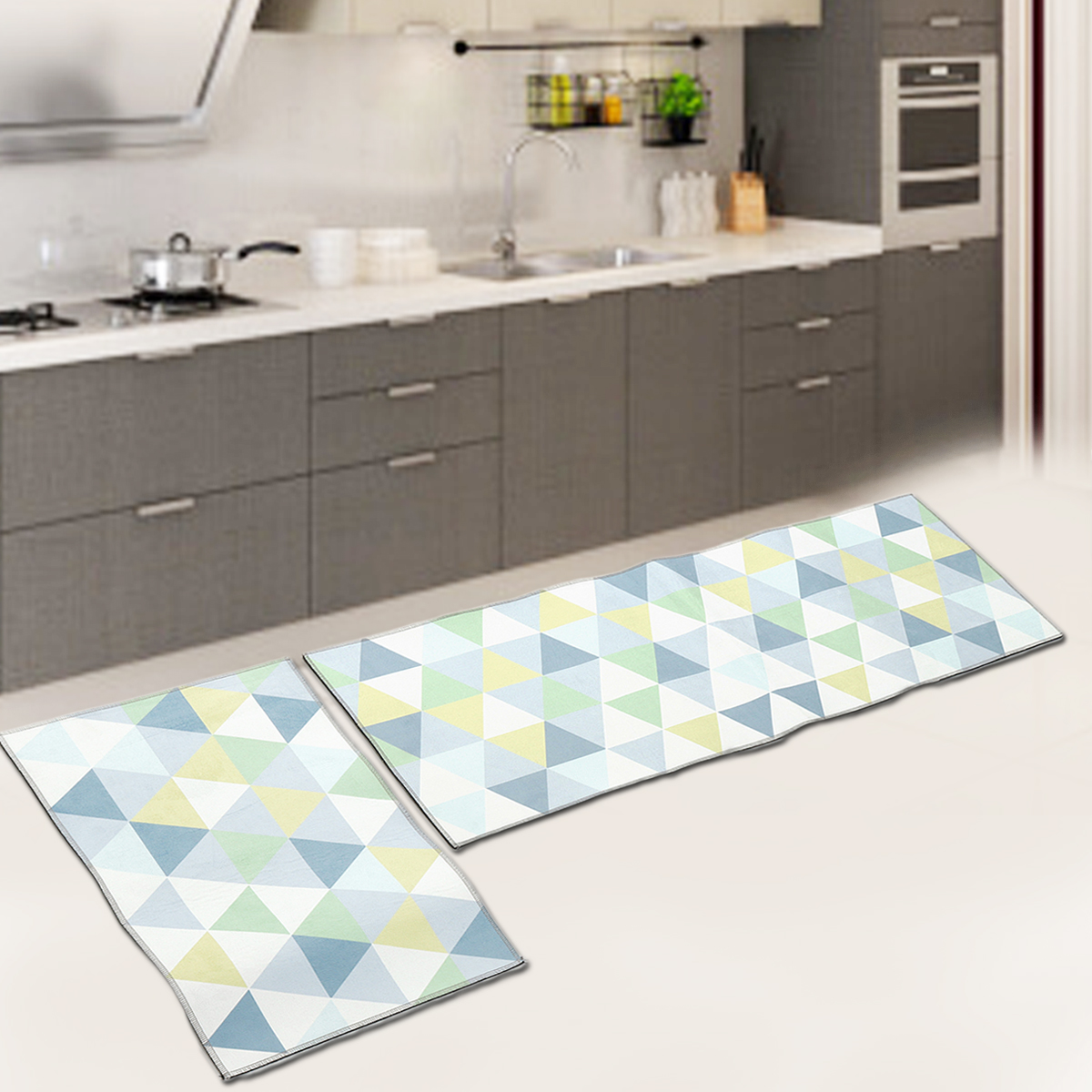 2Pcs Kitchen Floor Carpet Non-Slip Area Rug Home Bathroom Door Mat Set