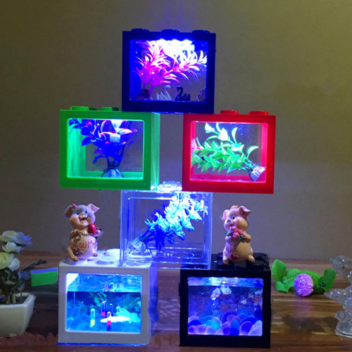 Colorful Clear Mini Fish Tank Aquarium LED Light Office Desktop Ornament Decor