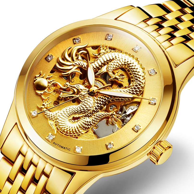 DEFFRUN Business Style Full Steel Automatic Mechanical Watch