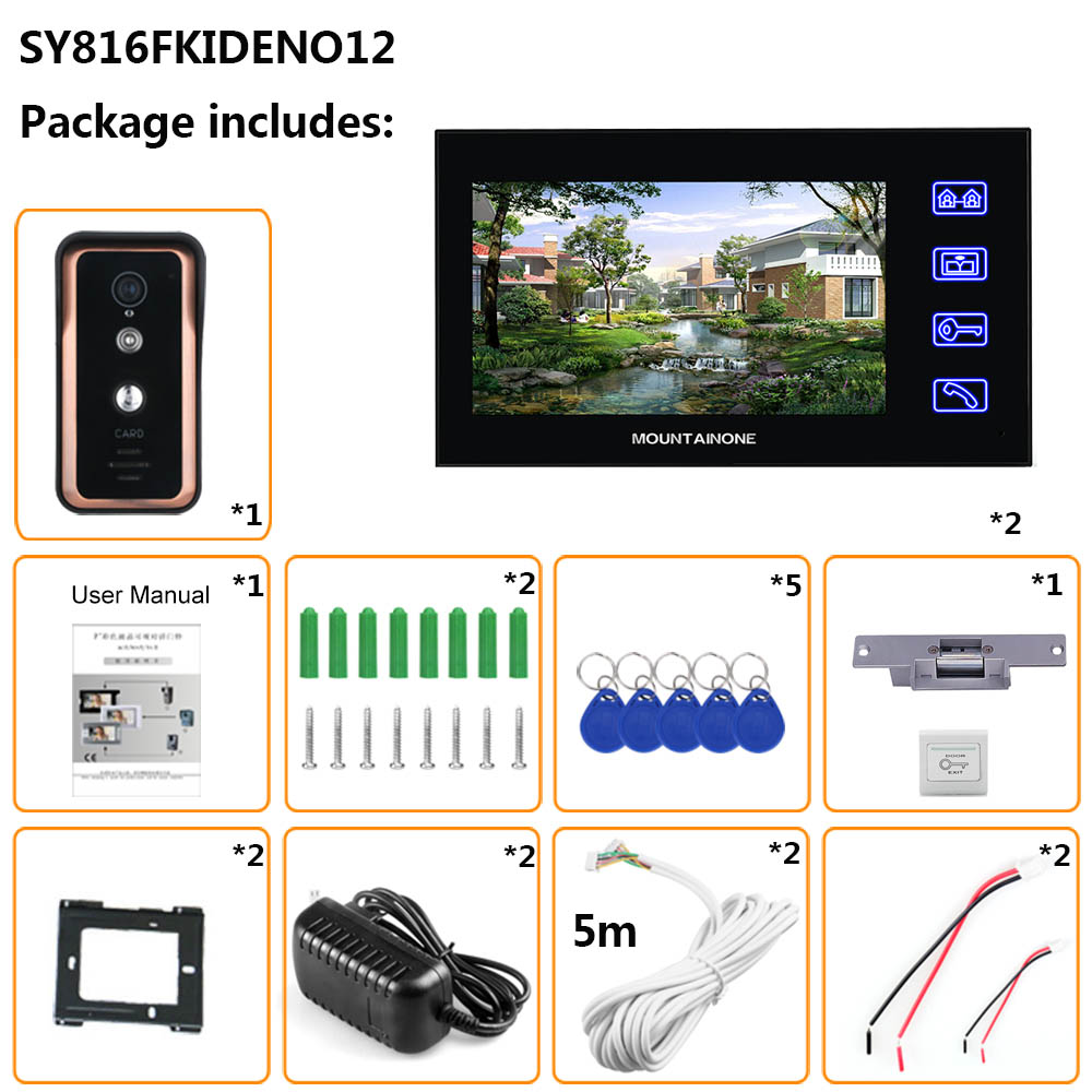 Touch Key Wired 7 inch Video Door Phone Video Intercom Doorbell System 2 Monitor 1 RFID IR-CUT Camera + Electric Magnetic Lock