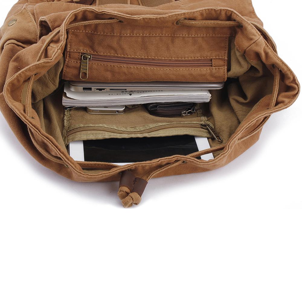 Men Canvas Drawstring Backpack Vintage Cowhide Bags