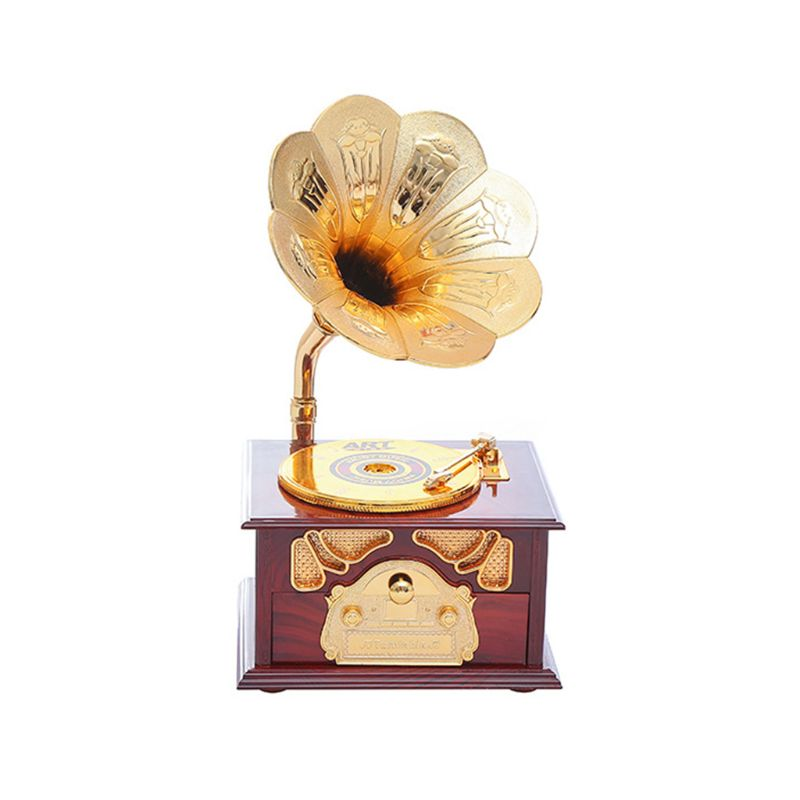 Wooden Metal Hand Crank Retro Phonograph Music Box for Kids Home Ornaments - Photo: 5