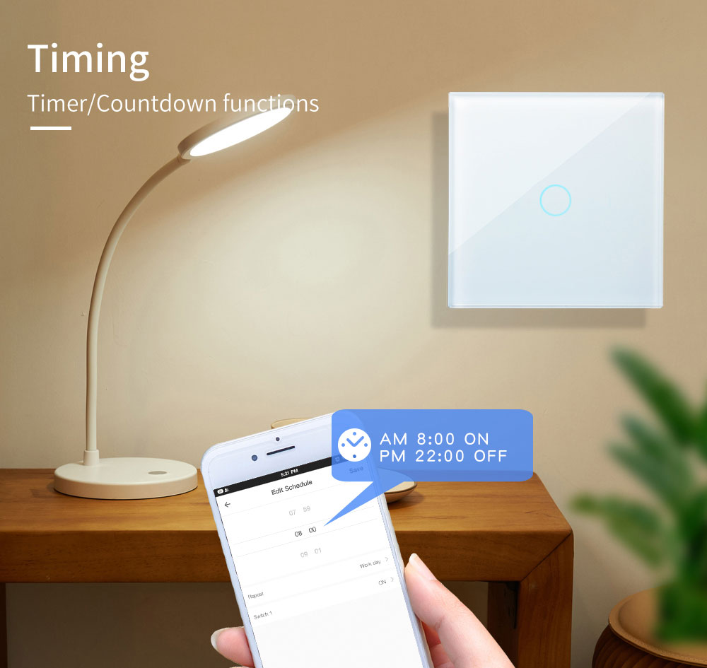Bakeey 2000W 100V-250V Smart WIFI+RF433 Touch Wall Switch Tuya Smart Life APP Remote Control Timer Work With Amazon Alexa Google Assistant
