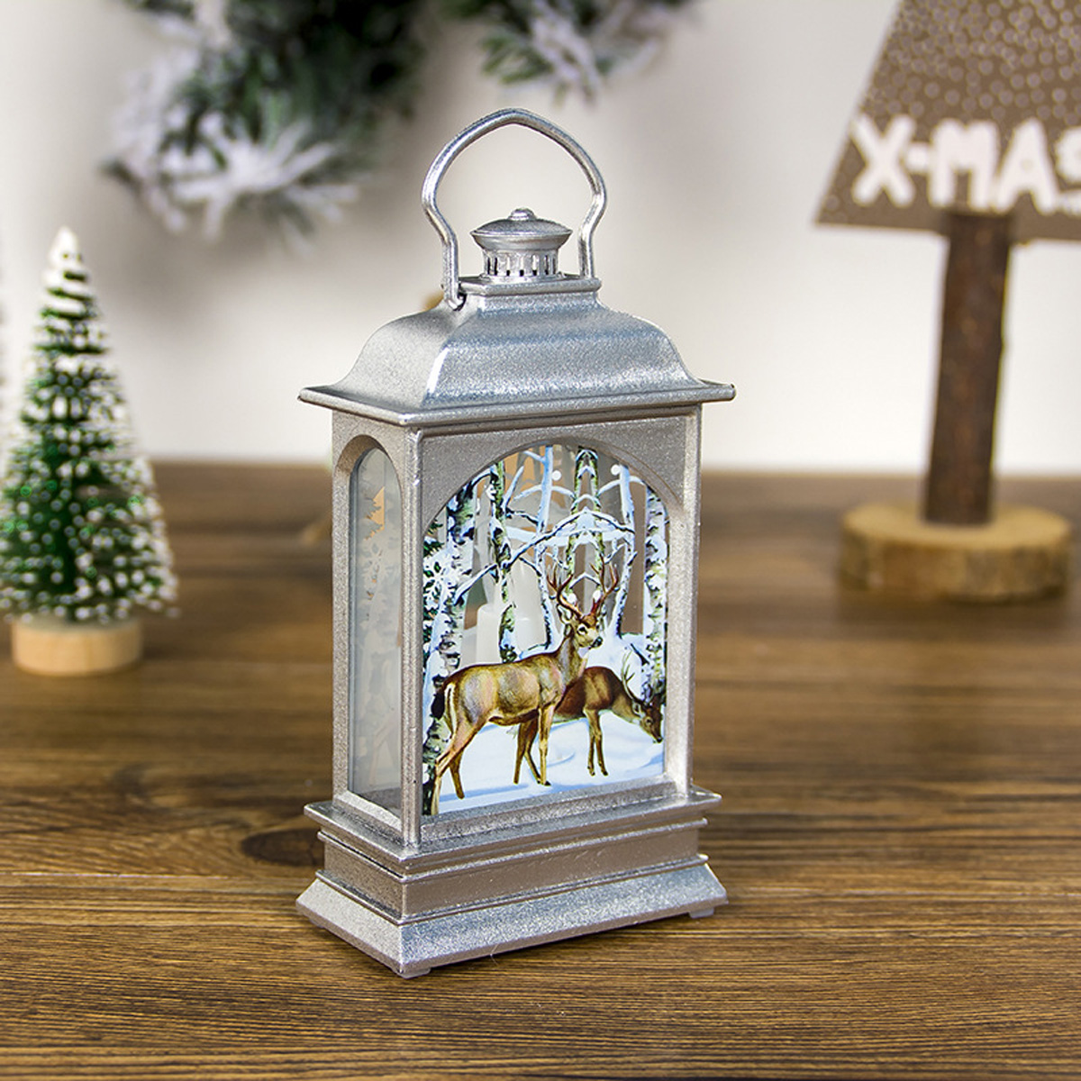 Snowman Santa Claus Religionary Deer LED Christmas Tree Hanging Lantern Lamp Night Light Party Decorative