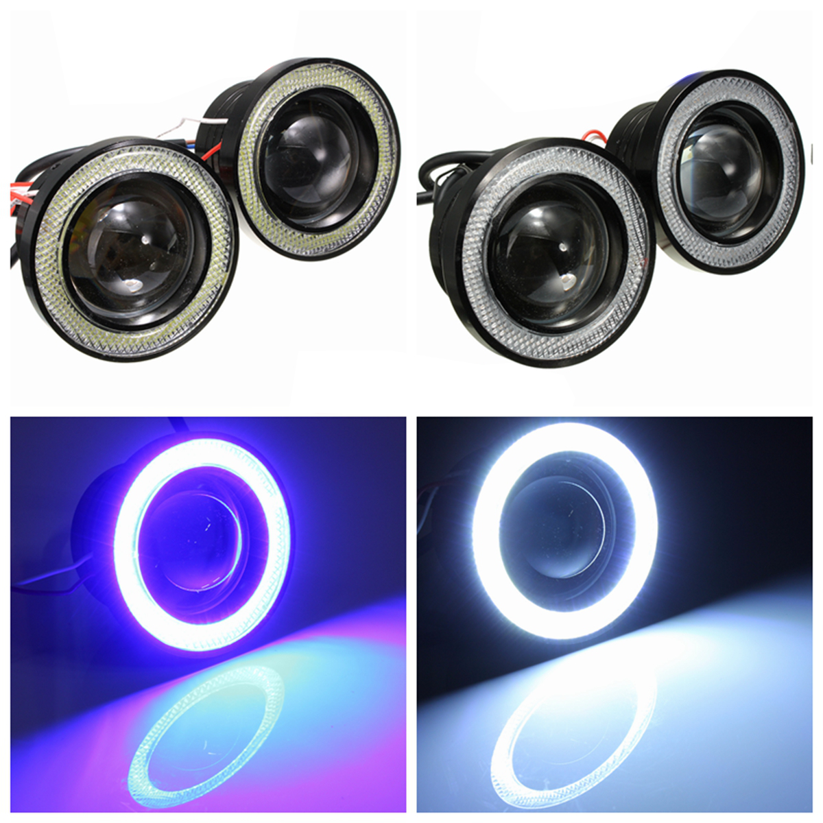 2PCS 3 Inch Projector LED Fog Lights Angel Eyes with Blue/White Halo Ring DRL Lamp 12V for Car Motorcycle