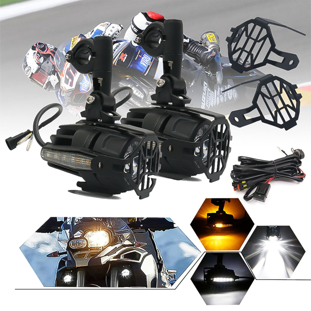 Wihtie + Amber W/ Side Light Pair 40W 4000LM 6500K Motorcycle LED Auxiliary Fog Spot Light Safety Driving Lamp Signal Light For BMW R1200GS ADV