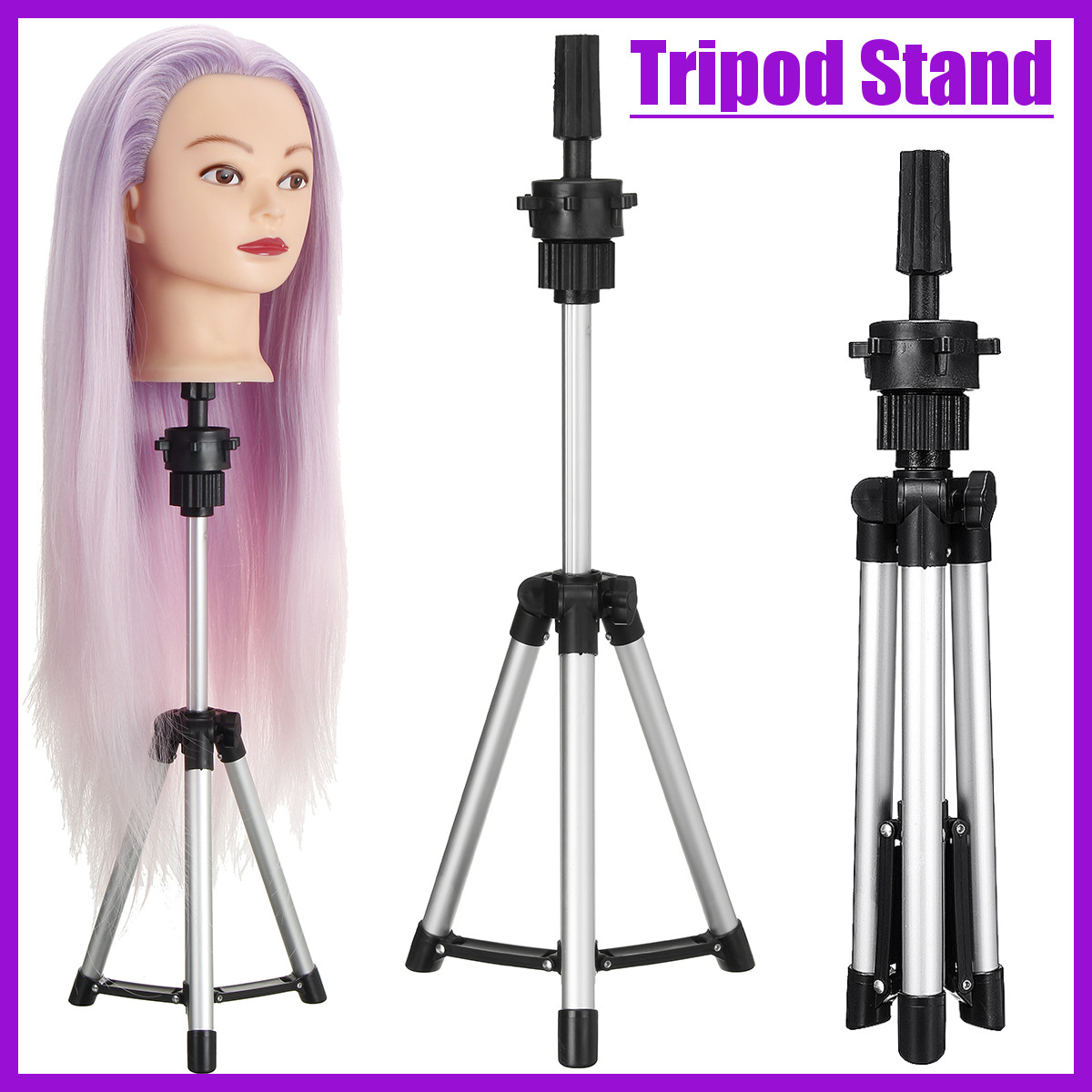 Adjustable Tripod Stand Salon Mannequin Head Wig Hairdressing