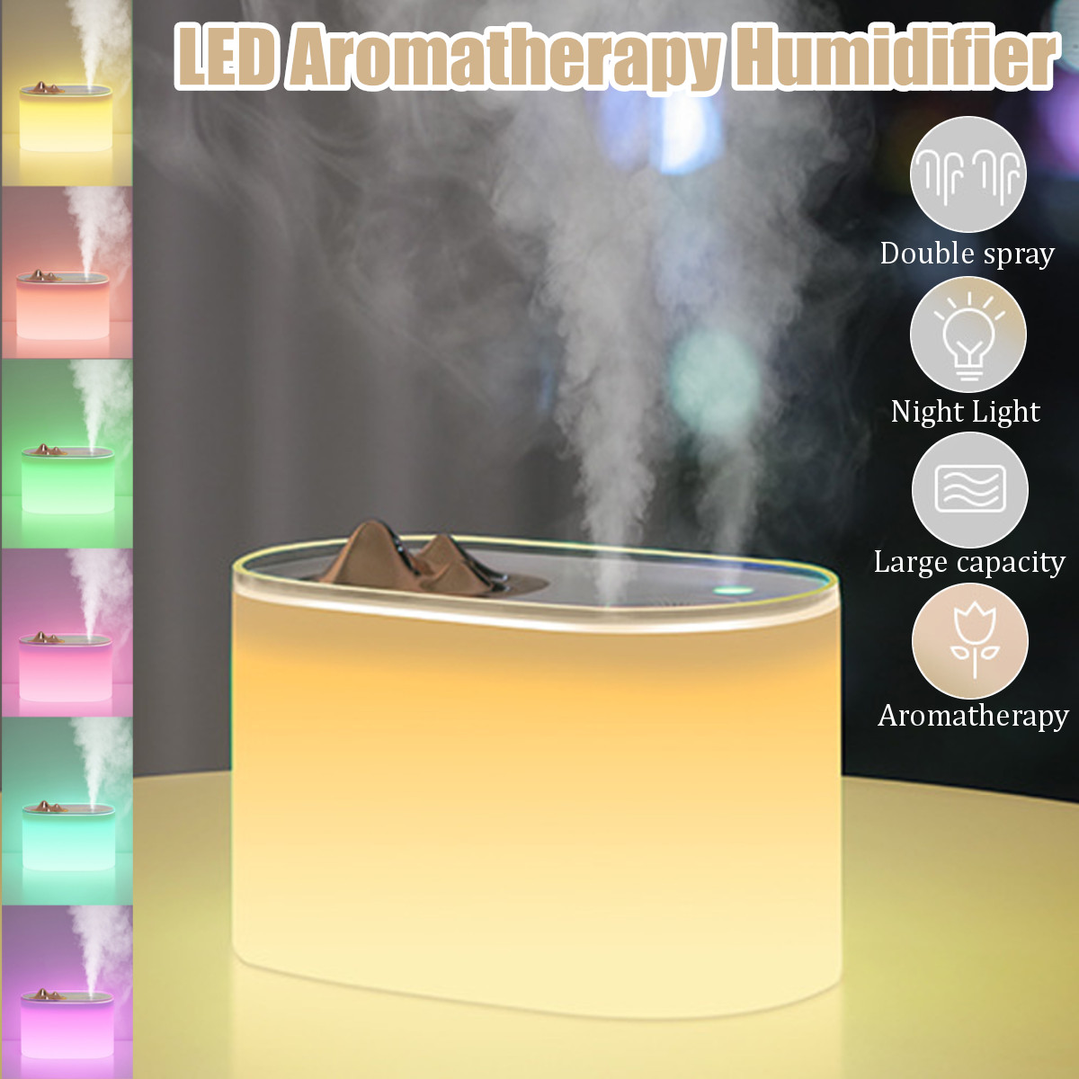 7 Colors LED Light USB Ultrasonic Humidifier Essential Oil Diffuser