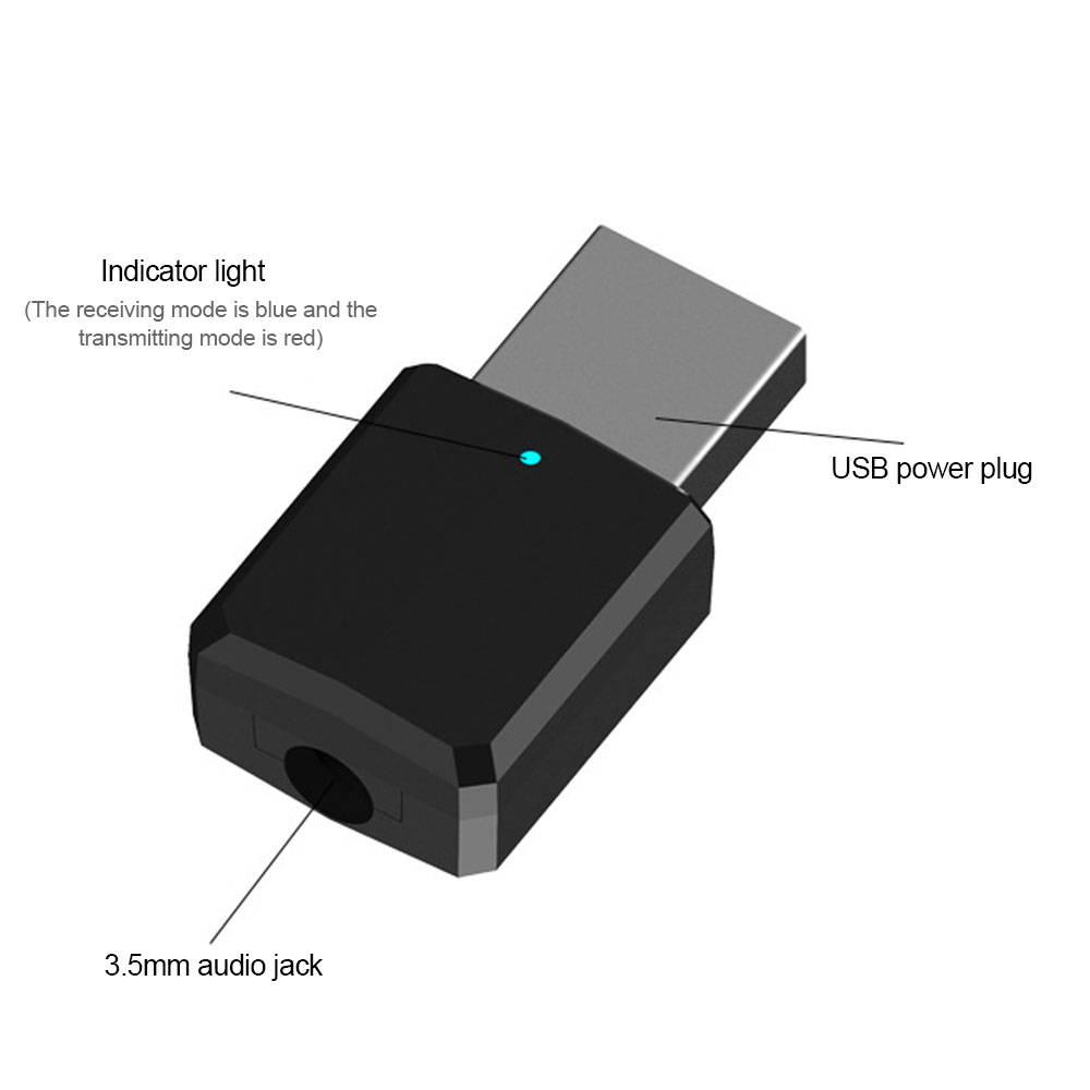 Bakeey 2 In 1 Mini bluetooth 5.0 Indicator Transmitter Receiver 3.5mm AUX Audio Wireless Stereo Adapter For XIAOMI MI8 MI9 Oneplus 7 TV MP3/4 PC Laptop