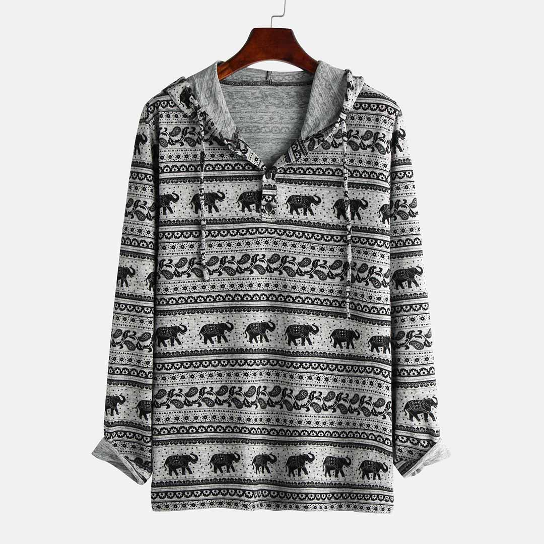 Mens Ethnic Style Elephant Printing Casual Long Sleeve
