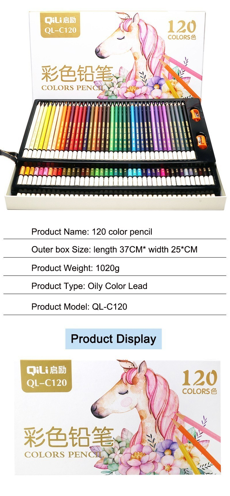 QiLi QL-C120 120 Colors Wood Colored Pencils Artist Painting Oil Color Pencil For School Drawing Sketch Drawing Art Supplies Stationery