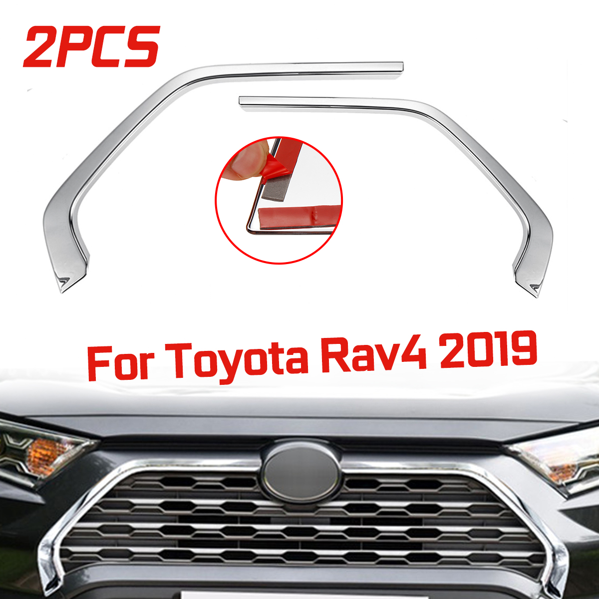 2Pcs Chrome Front Grill Grille Decorative Cover Trim Strips For Toyota Rav4 2019