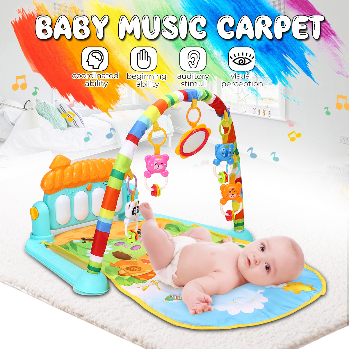 Baby Play Mat Rug Toys Crawling and Kids Developing Music Game Piano Keyboard