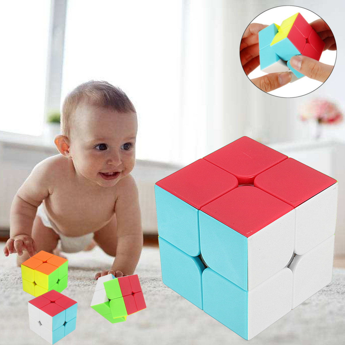 Amazing Cube 2x2 Magic Cube Anti Stress Adults Kids Puzzle Toy Vivid Color Square Magic Cube Puzzle Science Education Toy Gift