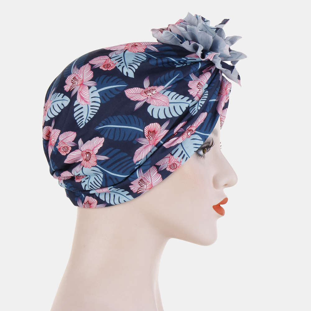 Women Cotton Tray Flower Headband Cap Ethnic Hat