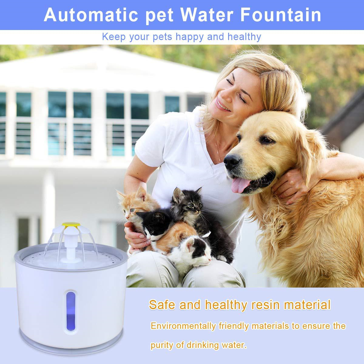 2.4L Automatic Pet Cat Dog Water Drinking Fountain Feeder Removable Pet Water Dispenser Waterer with Water Pump & LED Light