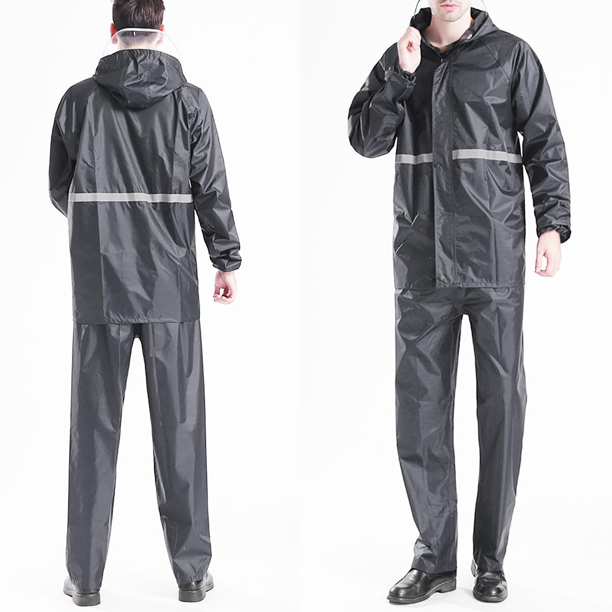 Adult Raincoat Mens Rain Long Pants Anti-UV Riding Cover Rainsuit Jacket & Hat