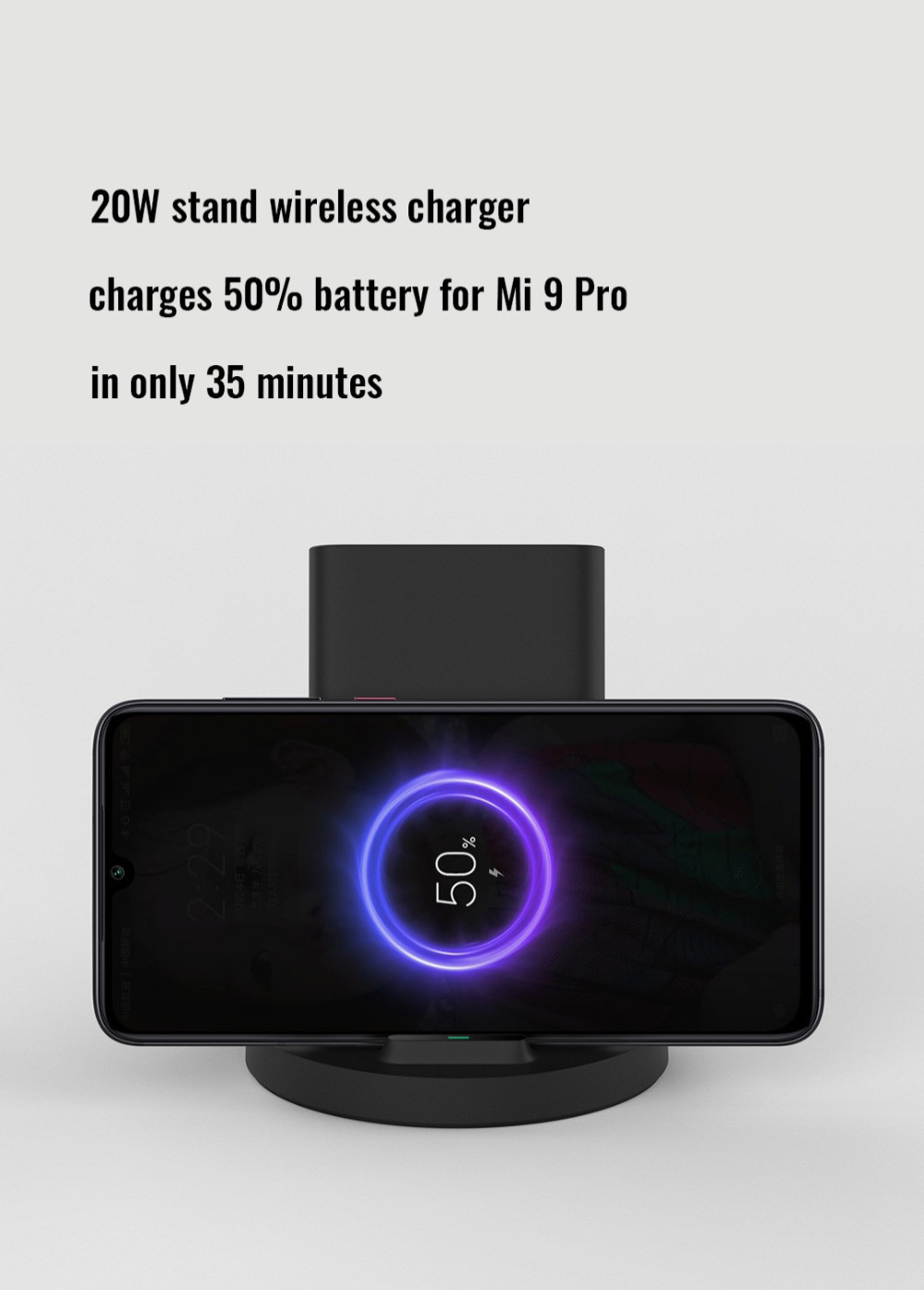 Xiaomi 20W Vertical Wireless Charger Flash Charging Stand Holder Horizontal for Xiaomi Mi 9 MIX 2S