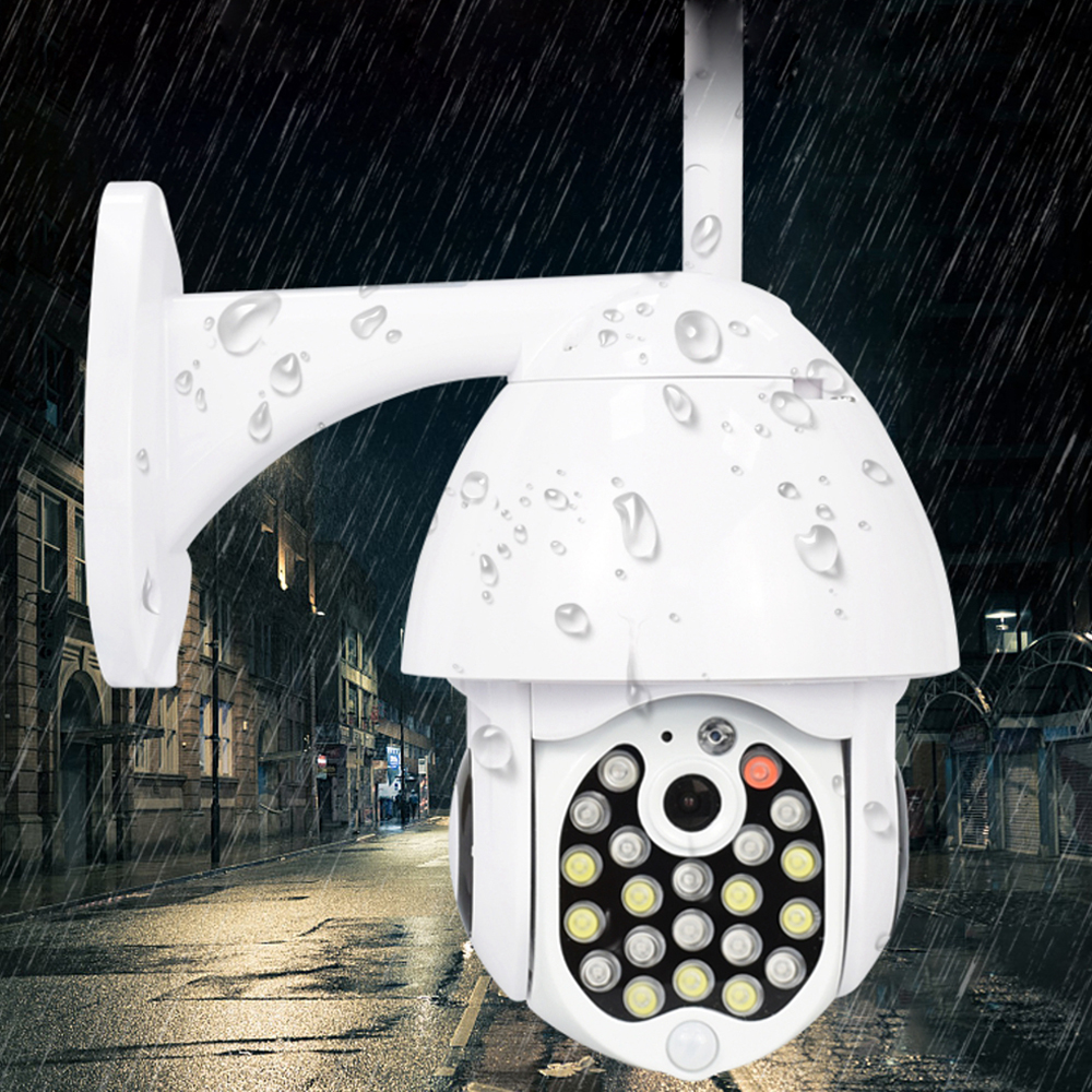 GUUDGO 21 LED IP Camera 8X Zoom WiFi Dome Surveillance Camera Full Color Night Vision IP66 Waterproof Pan/Tilt Rotation