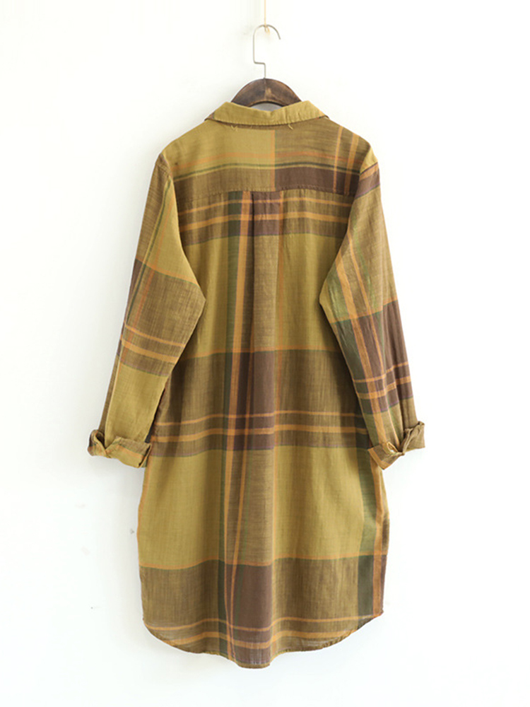 Women Plaid Mid-Long Shirt