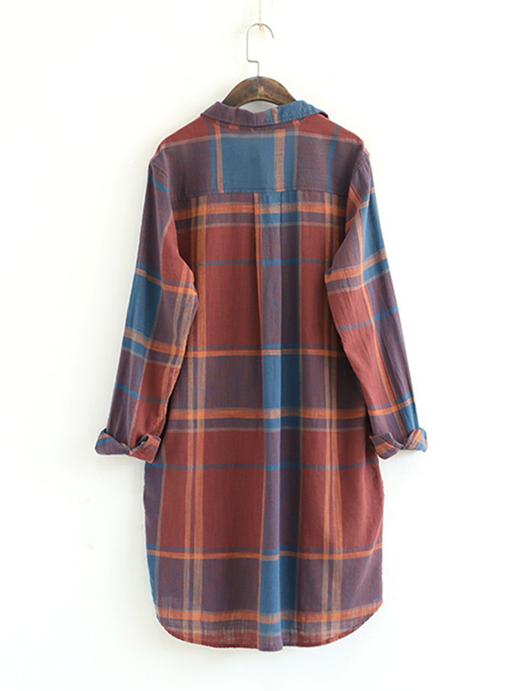 Women Plaid Mid-Long Shirt